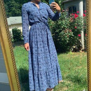 MICHEAL KORS - blue pattern maxi dress